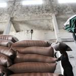 Funcionários carregam sacas de açúcar em usina em Campos dos Goytacazes